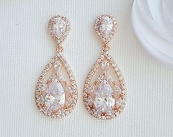 Wedding Earrings Rose Gold Bridal Jewelry Cubic Zirconia Large Teardrops Rose Gold Crystal Wedding Jewelry, Esther