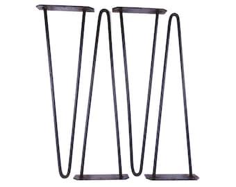 50s vintage. hairpin legs black. hairpin legs 4. mid century modern. retro furniture. vintage table legs. hairpin legs set of 4. metal legs.