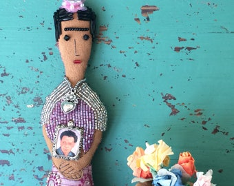 Frida Kahlo Art Doll - Frida Kahlo Doll - Frida Doll - Folk Art Inspired - Frida Ornament - Folk Art Doll - Mexican Folk-Art Inspired