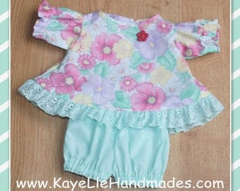 Preemie Cabbage Patch Doll Clothes - Dress and Pants - White with Flowers Lace Trim