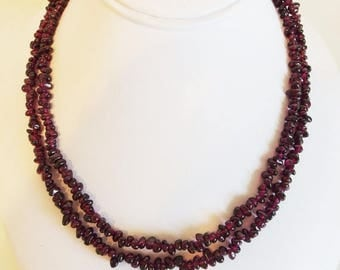 ON SALE Pretty Vintage Double Strand Genuine Tumbled Amethyst Gemstone Bead Necklace