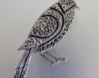Vintage Silver Pave Set Marcasite Standing Bird Pin Brooch