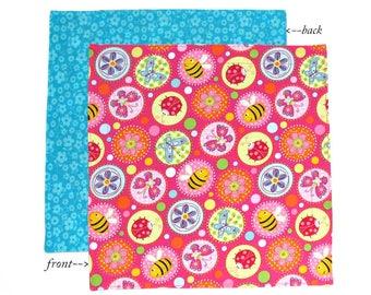 Kids Cloth Napkin, 12 Inch School Lunchbox Napkin, 1 double sided fabric napkin