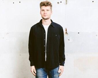 Men Corduroy Shirt . Vintage 90s Grunge Cord Long Sleeve Shirt Minimalist Dark Blue Shirt Boyfriend Gift for Him . size Large