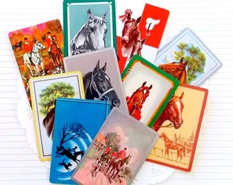 Vintage Playing Cards / Horses / Lot of 10 / Daily Planner / Junk Journal
