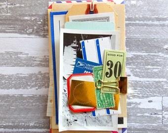 Mini Travel Kit / 20+ Pieces / Vintage Air Mail / Labels / Paper Ephemera