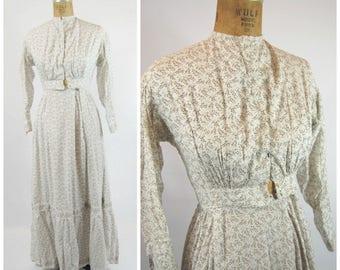 Edwardian Cotton Day Dress - 1900s Cotton Dress - 1900s Floral Print - Leaf Print