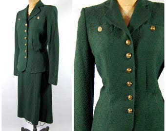 1940s Forest Green Knit Suit // 40s Military Style - Dark Green Spring Suit - Kremers Palmer House Chicago - The Highlander - Wool Knit Suit