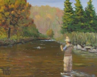 """Fly fishing Art, trout fishing, mountain stream, 6"""" x 8"""""""