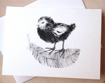 Bird and Feather Card, 5 x 7 Black and White Illustrated Blank Card, Baby Chick Card, Birthday Card, Gift for Women, Gift for Her