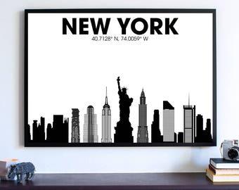 New York Skyline, Black and white new york, New York state,  new york print,  new york poster,  new york art,  new york wall art, Home decor