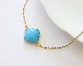 Turquoise Flower Necklace - Quatrefoil Necklace - Blue Flower Necklace - Celebrity Inspired - Blue Flower Shaped Necklace