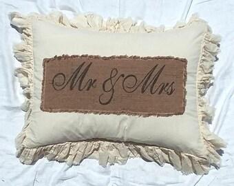 Pillow Slip Cover Pillow Sham  Burlap Muslin Pillow Sham PILLOW CASE w/ Mr & Mrs
