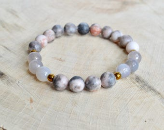 Pink Zebra Jasper and Grey Agate Gemstone Bracelet