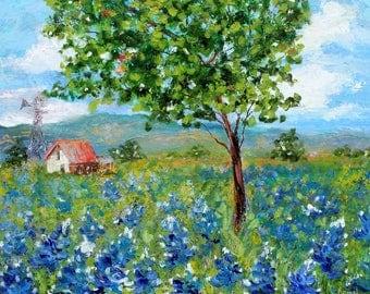 Bluebonnets Hill Country painting Original oil landscape palette knife impressionism on canvas 20x24 fine art by Karen Tarlton