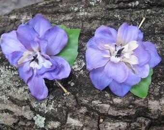 Purple  Larkspur flowers set of 2 bobby pins - hair clips - Weddings