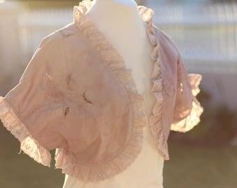 lilac vintage cotton lace bolero, plum vintage lace wedding jacket, purple boho woodland wedding shrug