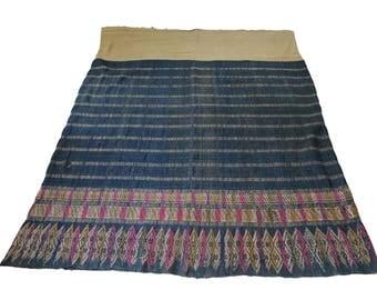Vintage Lao textile - Asian tribal textile - embroidery handmade skirt (Sarong)