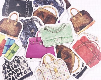 18 PCS, Bag stickers, Handbag stickers, Branded Bag stickers, Dress up stickers, Gucci, Marc Jacobs, Chanel stickers, Bags, SK