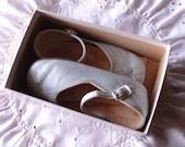 Vintage Girl's Shoes, 1950's, Blue Toddler Shoes, Original Box