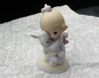 """Precious Moments """"Jesus Loves Me"""", 1978 Collectible Figurine, Easter Gift, Girl with Bunny, Baptism, Communion"""