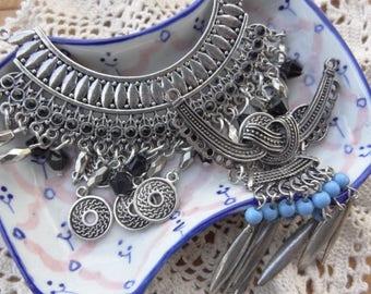 Vintage Jewelry Lot - Tassel - Metal Collar Findings - Gypsy Dangle - Belly Dance Jewelry Parts - vintage jewelry destash D117
