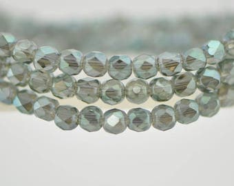 95pcs Round Crystal Glass Faceted Beads 4mm Sparkle Olive Green -(18QZ04-8)