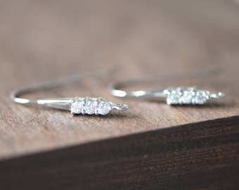 Rhinestone Sterling Silver Earring Hooks, 925 Silver Earwires 25mm Large, 2pcs=1 Pair (S016-4)