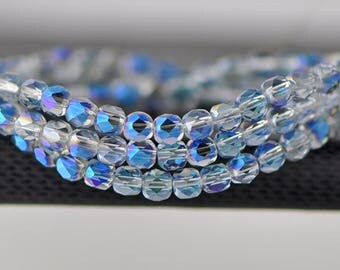 95pcs Round Faceted Crystal Glass Beads 4mm Sparkle Blue-(18QZ04-2)