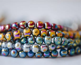 Smooth Round Glass Beads 8mm, Plated with Metal Rainbow Colors (GM-031)/ 35 beads