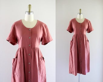 mauve linen market dress - m/l