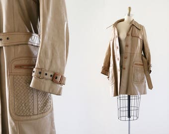 1970's basket weave leather trench