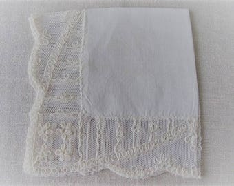 Vintage Brides Handkerchief, Beautiful Cotton Linen Ivory Hankie with Tambour Special Occasion Lace, Brides Wedding, ECS, FREE Shipping