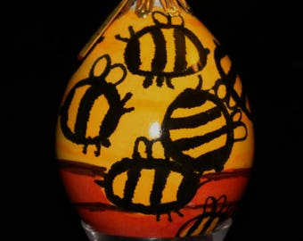 Hand Decorated Egg-Shaped Ornament (Beehive)