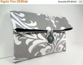 ON SALE READY To Ship Premier Prints Ozborne Damask Makeup Bag Clutch Purse Modern Wedding Bridal Clutch Damask Wedding Storm Gray Bag