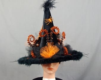 Classic Witch Hat, Orange and Black Witch Hat, Decorated Witch Hat, Fancy Witch Hat, Witch Costume, Costume Hat, Halloween Decoration