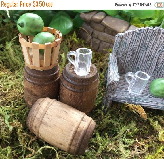 ON SALE Miniature Beer Mugs Clear Set of 4 Dollhouse Scale 1:12 Dollhouse, Decor, Miniature Garden Accessory