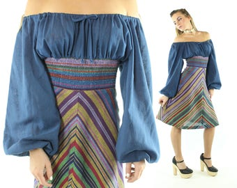 Vintage 70s Striped Dress Off The Shoulders  Empire Waist Peasant Gypsy 1970s Small S Vicky Vaughn Blue Rainbow