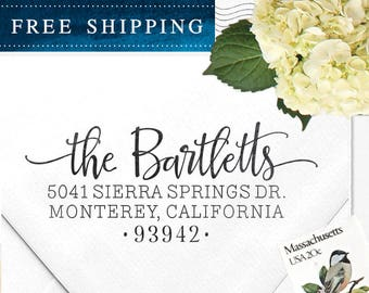 Custom Address Stamp, Return Address Stamp, Wedding Address Stamp, Calligraphy Address Stamp, Self inking stamp or Eco Mount - Bartlett