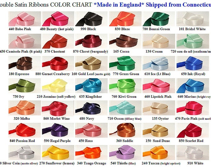 Double Face Satin,  5/8 inch width (15 mm) Woven Edge Ribbon, Many Colors, 15 ft roll (5 yds) Made in England