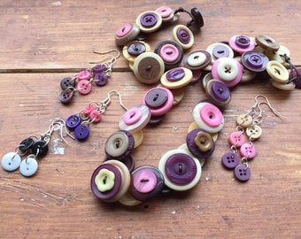 Jewellery Destash - Button Necklace, Bracelet and 4 Pairs of Earrings