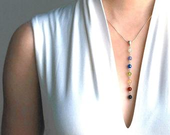 Petit Chakra Necklace, Chakra Pendant, Yoga Necklace, 7 Chakra Jewelry, Yoga Gift, Yoga Pendant, prima version in Gemstone & Sterling Silver