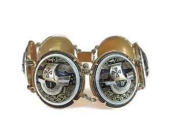 Damascene Viking Ship Bracelet, Toledo Spain, Spanish Damascene, Vintage Bracelet, Wide Chunky, Statement Jewelry