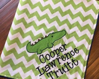 Alligator Baby Blanket-Personalized Baby Blanket- Boy Baby Blanket- Chevron Blanket