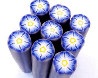 Polymer Clay Cane, Blue Flower, Uncured Polymer Clay Cane, Raw Polymer Clay Canes,Morning Glory