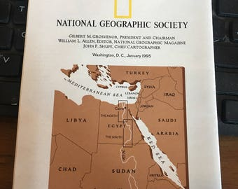 Nile river valley map National Geographic circa 1995.