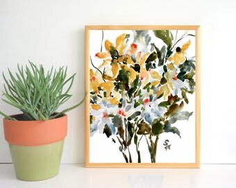 Black Eyed Susan Impression, Watercolor Flowers, Fine Art Print, 8x10, 11x14