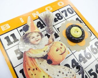 Spooky Halloween Vintage Inspired Bingo Wood Die Cut Button Card Collage Mixed Media 3D Decoration Keepsake