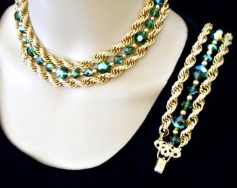 Vintage Napier Necklace Earring Set/ Goldtone Multi Strand Chain /Emerald Green Crystal Beads