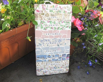 Shabby chic mosaic plaque - Fruits of the spirit - Free post to the UK!